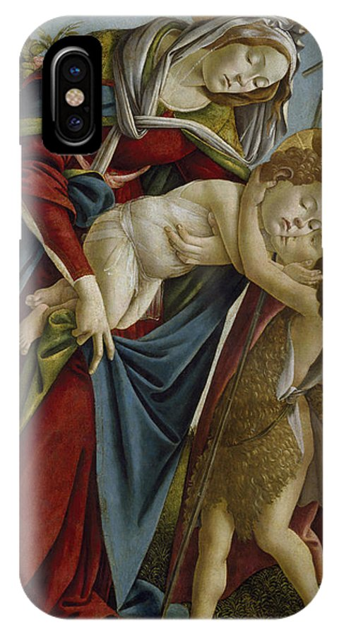 Sandro Botticelli IPhone X Case featuring the painting Madonna And Child And The Young St John The Baptist by Sandro Botticelli