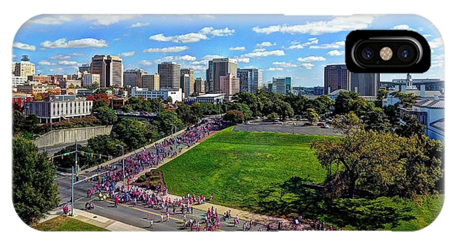 Making Strides Breast Cancer Walk Richmond Virginia 2016 IPhone X Case featuring the photograph making strides breast cancer walk Richmond Virginia 2016 by Tredegar DroneWorks