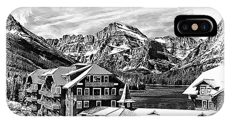 Many IPhone X Case featuring the photograph Many Glacier Hotel by Margie Wildblood