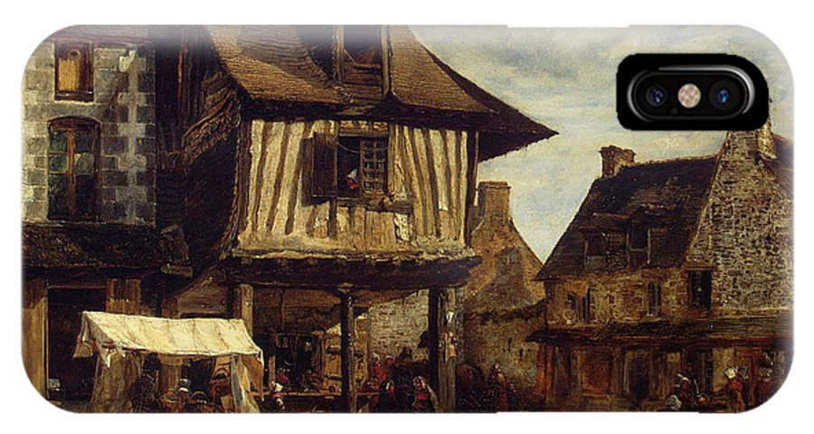 Barbizon School IPhone X Case featuring the painting Market-place In Normandy by Theodore Rousseau