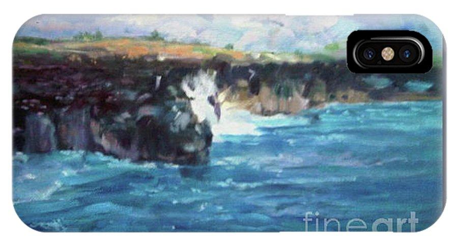 Maui Rocky Coast IPhone X Case featuring the painting Maui by Lisa McKnett