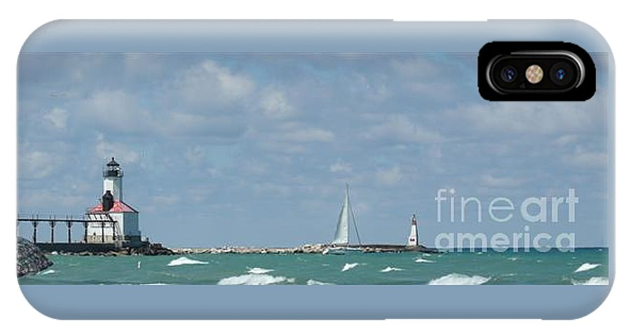 Scenery IPhone X Case featuring the photograph Michigan City Beach Lighthouse by Barb Montanye Meseroll