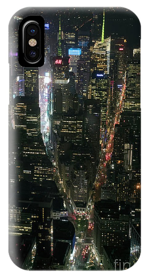 Midtown IPhone X Case featuring the photograph Midtown West Manhattan Skyline Aerial At Night by David Oppenheimer