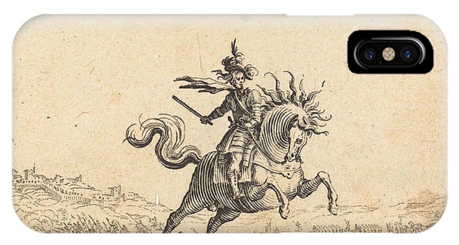 IPhone X Case featuring the drawing Military Commander On Horseback by Jacques Callot