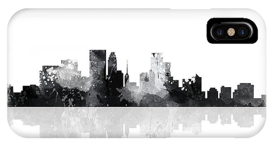 Minneapolis Minnesota Skyline IPhone X Case featuring the digital art Minneapolis Minnesota Skyline by Marlene Watson