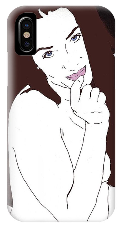 Nude Portrait IPhone X Case featuring the drawing Mischevious by Stephen Panoushek