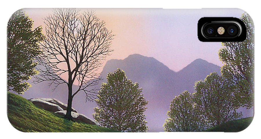 Landscape IPhone X Case featuring the painting Misty Spring Meadow by Frank Wilson