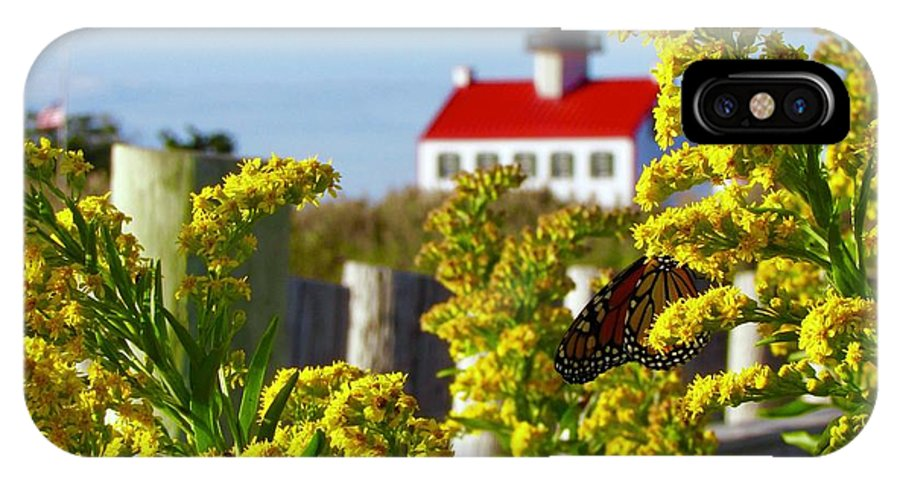 East Point Lighthouse IPhone X Case featuring the photograph Monarch At East Point Light by Nancy Patterson