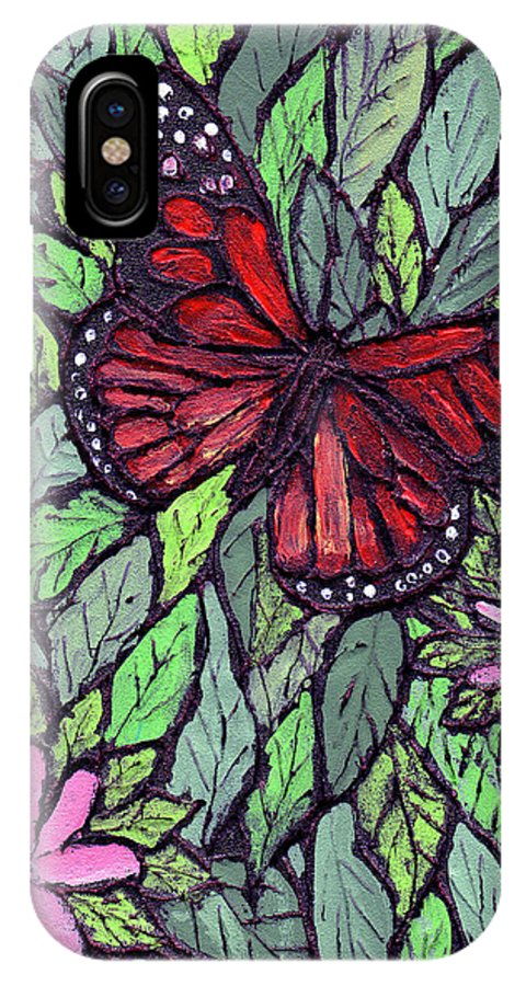 Monarch IPhone X Case featuring the painting Monarch Butterfly by Wayne Potrafka