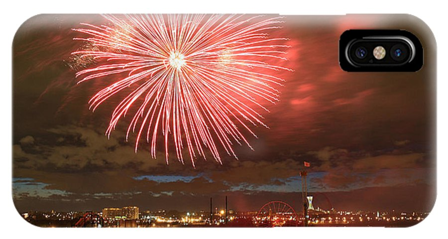 Fireworks IPhone X Case featuring the photograph Montreal Fireworks Celebration by Pierre Leclerc Photography