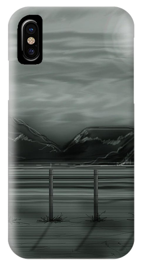 Landscape IPhone X Case featuring the painting Moon Over The Beartooth by Anne Norskog