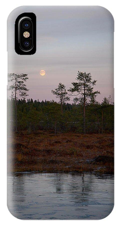Lehtokukka IPhone X Case featuring the photograph Moon Over Wetlands by Jouko Lehto