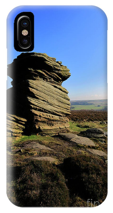 Mother Cap IPhone X Case featuring the photograph Mother Cap Gritstone Rock Formation, Millstone Edge by Dave Porter
