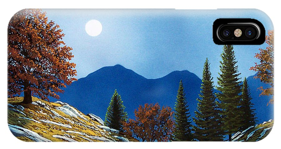 Landscape IPhone X Case featuring the painting Mountain Moonrise by Frank Wilson