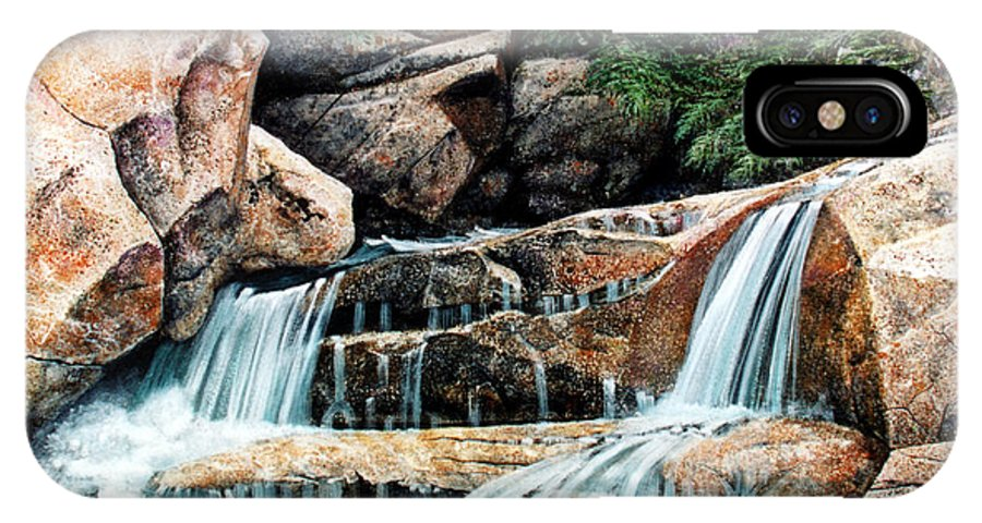 Landscape IPhone X Case featuring the painting Mountain Stream by Frank Wilson