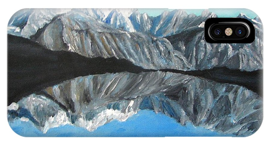 Smoky Mountains IPhone X / XS Case featuring the painting Mountains Landscape Acrylic Painting by Natalja Picugina