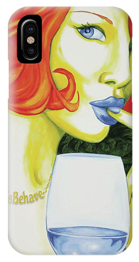 Ms Behave IPhone X Case featuring the painting Ms Behave by Holly Picano