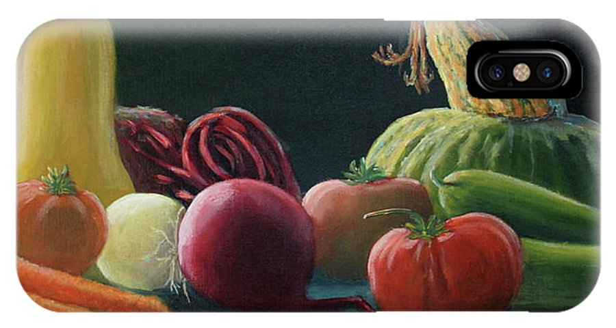 Vegetables IPhone X Case featuring the painting My Harvest Vegetables by Lorraine Vatcher