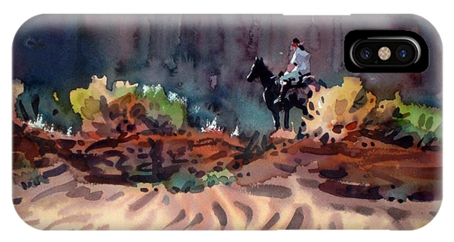 Equestrian IPhone Case featuring the painting Navajo Rider by Donald Maier
