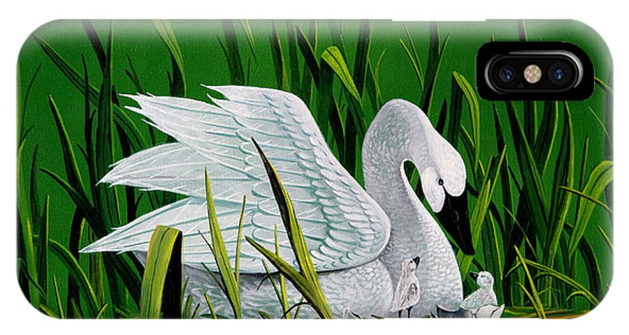 Swan And Babies IPhone X Case featuring the painting New Addition by Don Griffiths