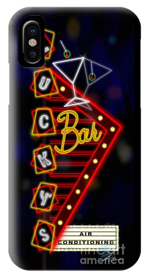 Nightclub IPhone X Case featuring the mixed media Nightclub Sign Luckys Bar by Shari Warren