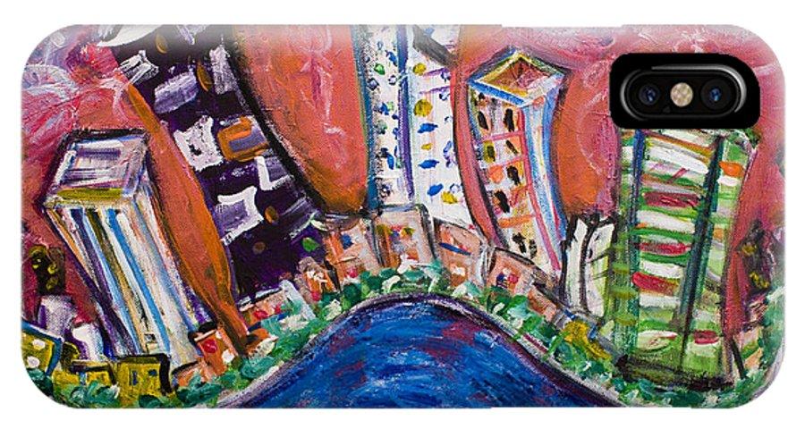 New York Skyline Manhattan IPhone X Case featuring the painting Nyc Impressions 3 by Jason Gluskin