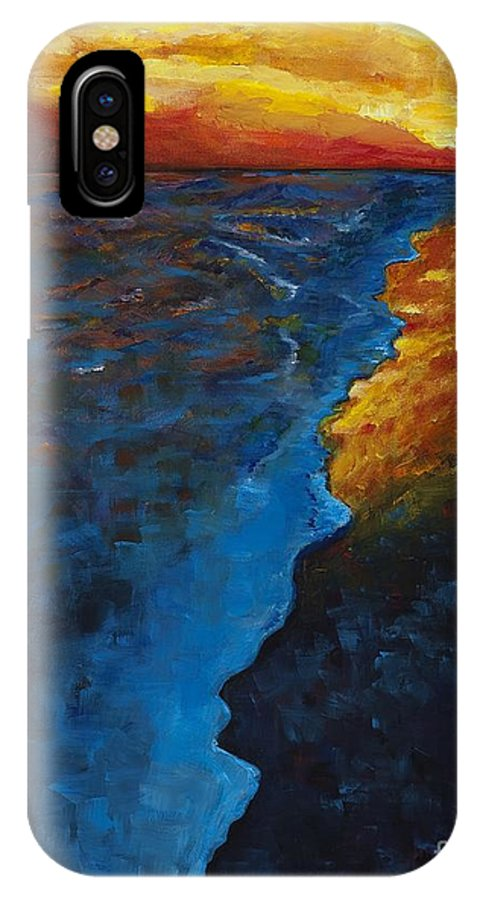 Abstract Ocean IPhone X Case featuring the painting Ocean Sunset by Frances Marino