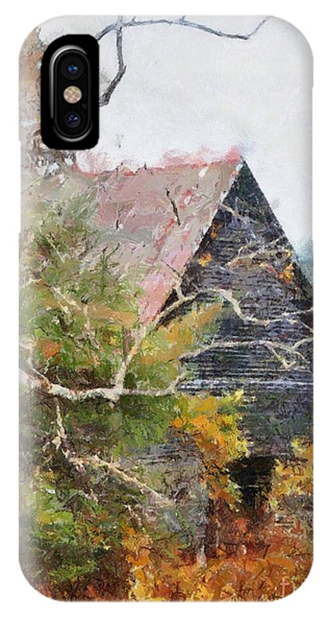 Landscape IPhone X Case featuring the digital art Old Barn At Cades Cove by Todd Blanchard