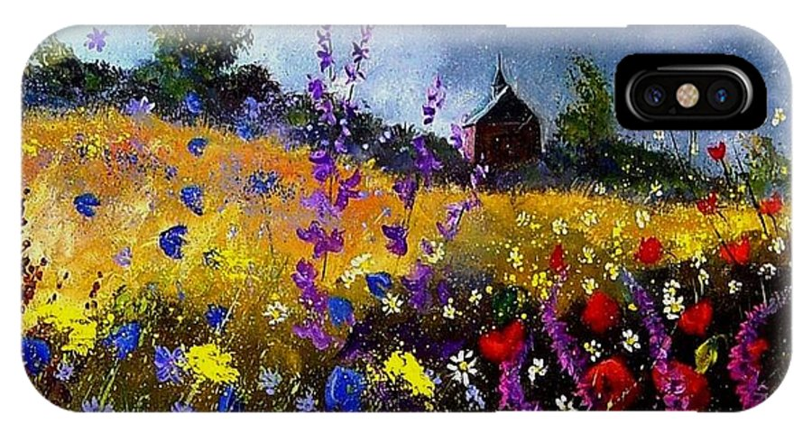 Flowers IPhone X Case featuring the painting Old Chapel And Flowers by Pol Ledent