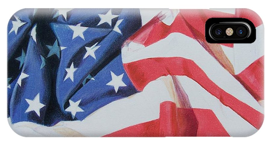Flag IPhone X Case featuring the mixed media Old Glory by Constance Drescher