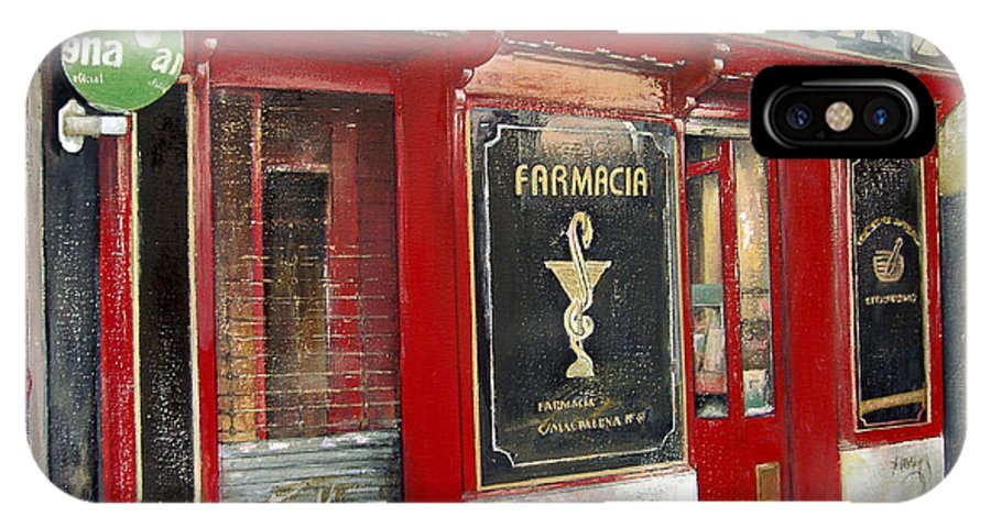 Farmacia IPhone X / XS Case featuring the painting Old Pharmacy by Tomas Castano
