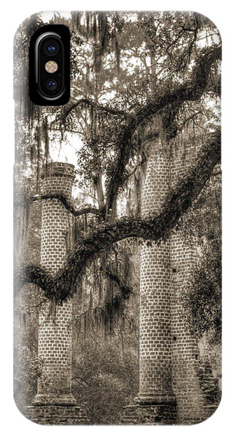 Old Sheldon Church IPhone X Case featuring the photograph Old Sheldon Church Ruins by Dustin K Ryan