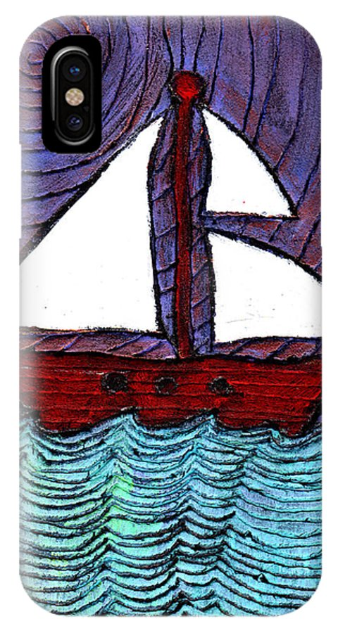 River IPhone X Case featuring the painting On The River by Wayne Potrafka