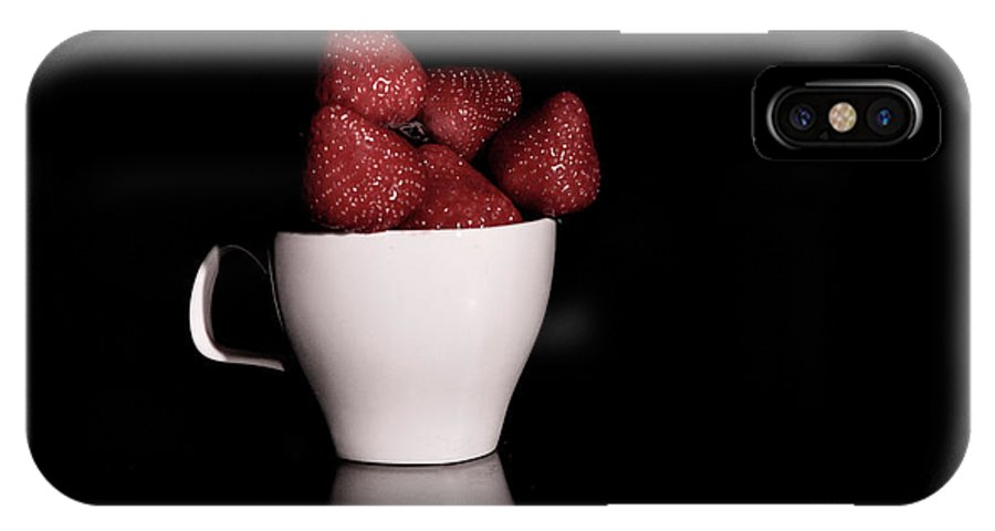 Background IPhone X Case featuring the photograph One Cup Of Strawberry by Bin Wang