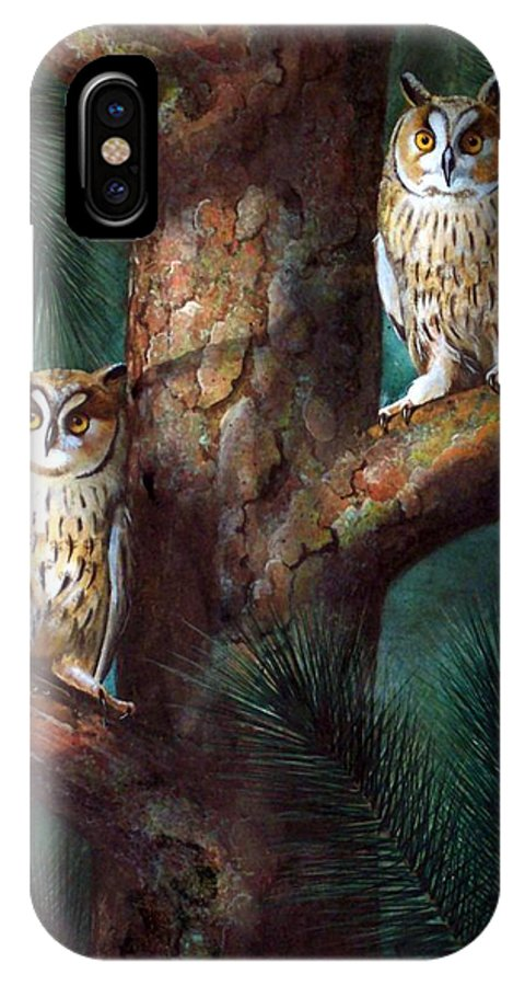 Wildlife IPhone Case featuring the painting Owls In Moonlight by Frank Wilson