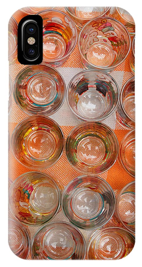 Shot Glass IPhone X / XS Case featuring the photograph Painted Shot Glasses by Robert Hamm