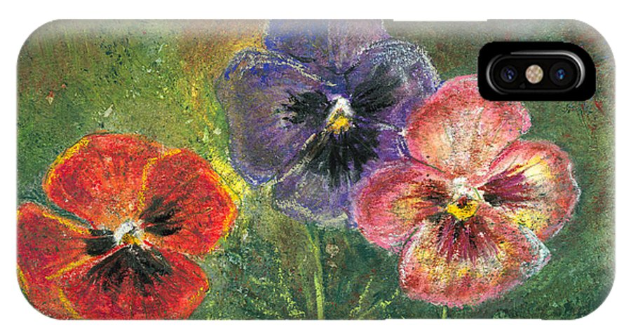 Pansy IPhone X Case featuring the mixed media Pansies by Arline Wagner