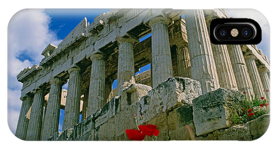 Greece IPhone X Case featuring the photograph Parthenon With Poppies by Michele Burgess