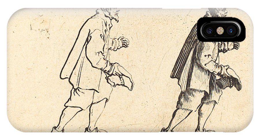 IPhone X Case featuring the drawing Peasant With Hat In Hand by Jacques Callot