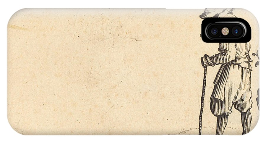 IPhone X Case featuring the drawing Peasant With Shovel On His Shoulder by Jacques Callot