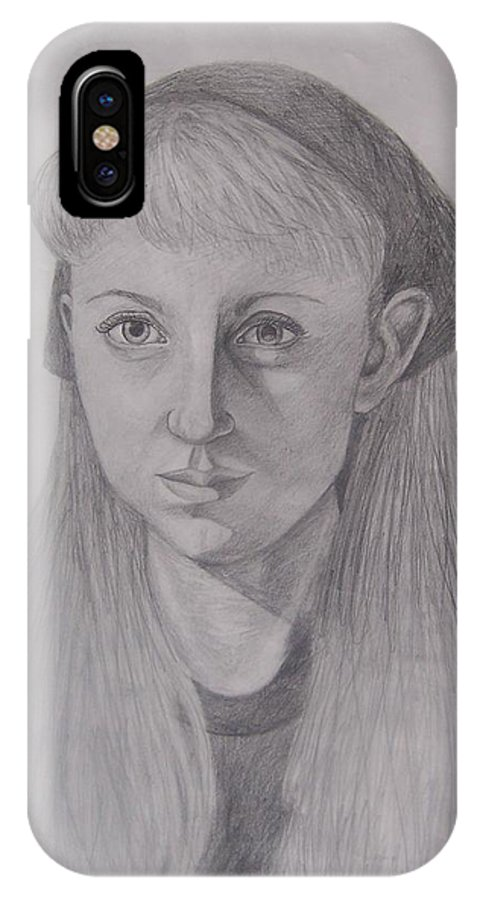 Artist IPhone X Case featuring the drawing Pencil Self Portrait by Emily Young