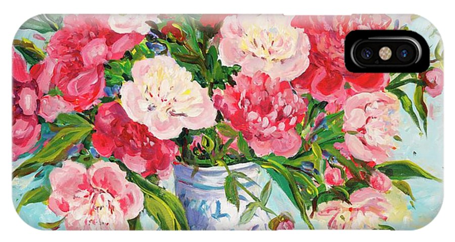 Flowers IPhone X Case featuring the painting Peonies by Ingrid Dohm