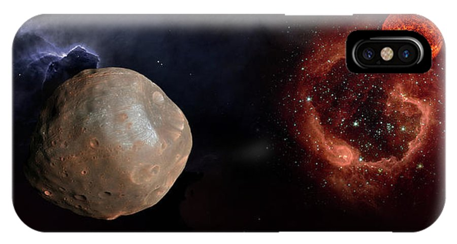 Centaurus IPhone X Case featuring the photograph Phobos In The Space Over Mars by Alain De Maximy