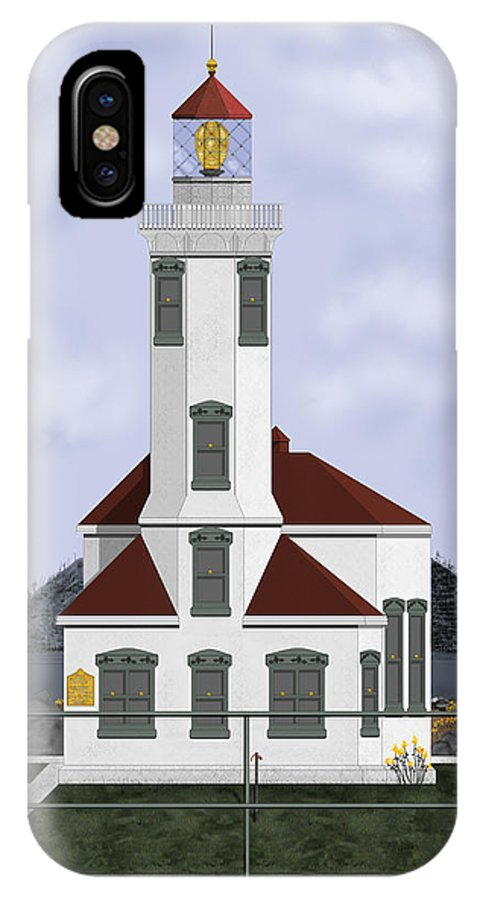 Lighthouse IPhone X Case featuring the painting Point Wilson Lighthouse by Anne Norskog