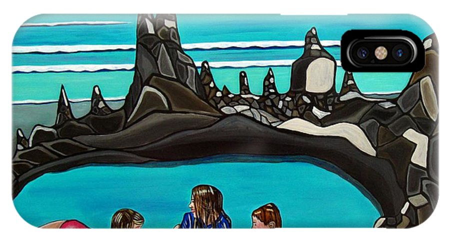 Beach Paintings IPhone X Case featuring the painting Pool Party by Sandra Marie Adams