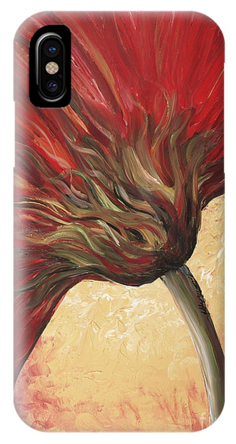 Floral IPhone X Case featuring the painting Power Of Red by Nadine Rippelmeyer