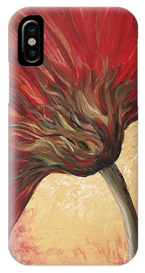 Floral IPhone X / XS Case featuring the painting Power Of Red by Nadine Rippelmeyer