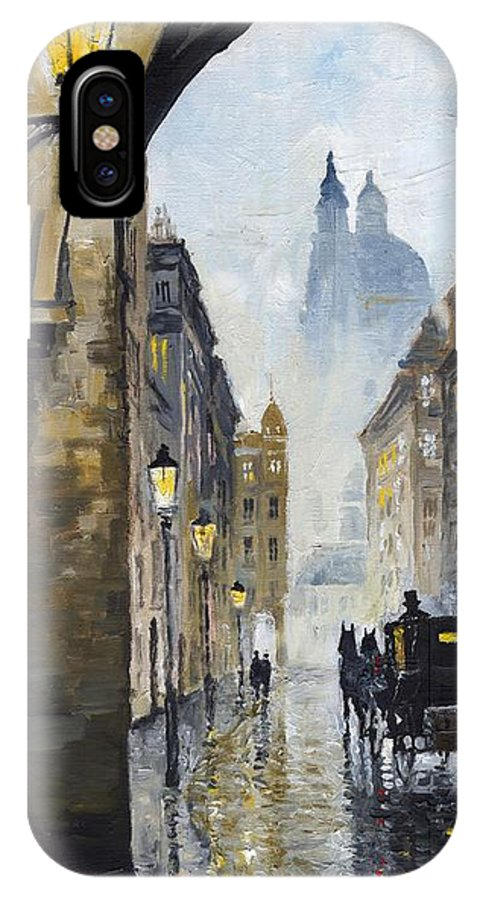 Prague IPhone X Case featuring the painting Prague Old Street 01 by Yuriy Shevchuk