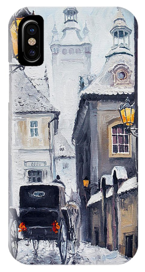 Oil IPhone Case featuring the painting Prague Old Street 02 by Yuriy Shevchuk