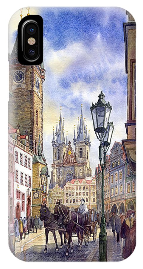 Watercolour IPhone X Case featuring the painting Prague Old Town Square 01 by Yuriy Shevchuk